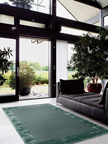 benuta Teppiche: Moderner Designer Teppich Ascot Türkis 120×170 cm – schadstofffrei – 65% Wolle, 35% Viskose – Uni – – Wohnzimmer
