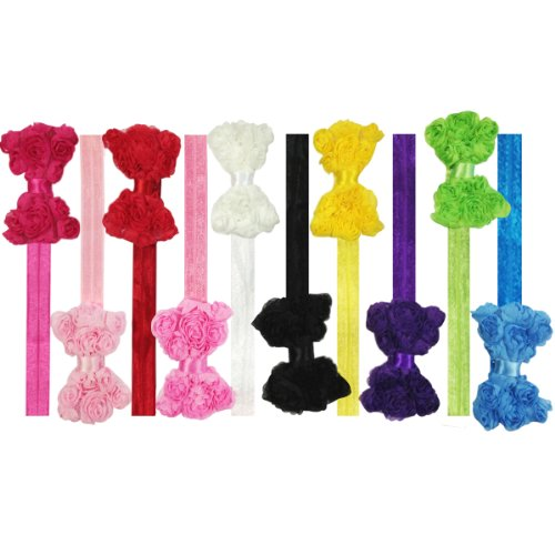 Kella Milla Set of 10 Assorted Chiffon Rosette Bow Baby Headbands