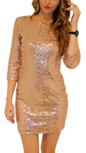 Women Women's Half Sleeve Sequined Cocktail Mini Cocktail Dress Gold Large