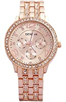 3 PACK Geneva Silver Gold and Rose Gold Plated Classic Round CZ Ladies Boyfriend Watch