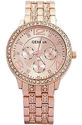 Geneva Rose Gold Plated Classic Round CZ Ladies Watch