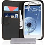 Samsung Galaxy S3 Case Black Leather Wallet Cover With Screen Protector