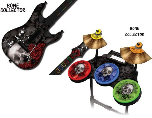 "Protective skins for Guitar Hero 4 ""World Tour"" Guitar and Drum Set - fits Nintendo Wii - BONECOLLECTOR BLACK"