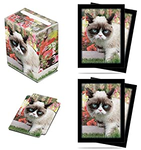 Ultra-Pro Grumpy Cat Flowers Deck Box + 100 Sleeves Set (fits Magic/MTG, Pokemon Cards)