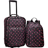 U.S. Traveler 2-Piece Polka Dot Carry-On Rolling Upright and Backpack Luggage