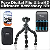 Ultimate Accessory Kit For The Pure Digital Flip UltraHD Camcorder 3rd Generation FVU32120B, U32120W NEWEST MODEL Includes Slim Protective hard Case + 7