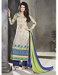 Designer Dress Material Cream Semi Stiched Straight Cut Salwar Kameez Suit. - B00ZUK7Z1M