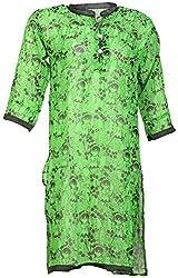 Anshul Textile Women's Georgette Regular Fit Kurta (Green)