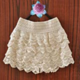 NEEWER® Women Skorts Korean Sweet Cute Crochet Tiered Lace Short Skirt Pants (Beige)