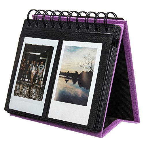 [Fujifilm Instax Mini Photo Album] Woodmin 68 Pockets Desk Calendar Album for Fuji Instant Mini 70 7s 8 25 50s 90, Polaroid Z2300, Polaroid PIC-300P Film(Purple) (Pic Display Case compare prices)