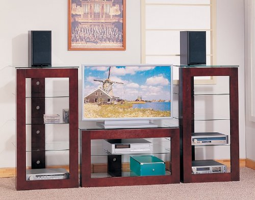 Image of Contemporary Style Dark Brown Finish 3 Piece Entertainment Center (TV stand & 2 media towers) - Coas (VF_AZ00-16702x30665)
