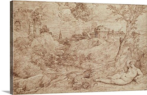 Landscape with a Dragon and a Nude Woman Sleeping Gallery-Wrapped Canvas