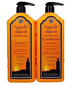 Agadir Argan Oil Daily Shampoo and Conditioner Liter Combo Set 33.8 oz