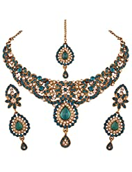 I Jewels Traditional Gold Plated Elegantly Handcrafted Stone Jewellery Set With Maang Tikka For Women M4031Sb...