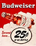 Budweiser Bud Served Here 25 Cents Beer Bottle Retro Vintage Tin Sign