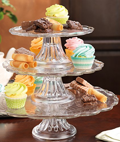 Elegant Stackable 1, 2, or 3 Tiers Glass Scalloped Edge Cake or Cupcake Stand or Individual Cake Plates (Glass Cake Stands compare prices)