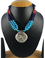 Aradhya Designer High Quality German Silver Multi Layer Stone Beads Necklace For Women And Girls - B01JZ26SEK