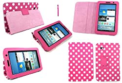 Emartbuy® Samsung Galaxy Tab 2 7 Inch Tablet ( P3100 / P3110 ) Hot Pink Stylus + Hot Pink / White Polka Dots PU Leather Multifunctional / Multi Angle Wallet / Cover / Stand / Typing Case