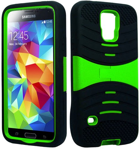 Mylife (Tm) Lime Green And Deep Black - Shockproof Survivor Series (Built In Kickstand + Easy Grip Ridges) 2 Piece + 2 Layer Case For New Galaxy S5 (5G) Smartphone By Samsung (Internal Flex Silicone Bumper Gel + Internal 2 Piece Rubberized Fitted Armor Pr