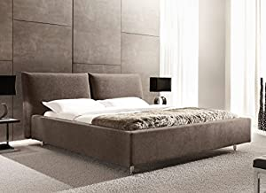 lit design rhodes marron tissu 160x200 cm cuisine maison. Black Bedroom Furniture Sets. Home Design Ideas