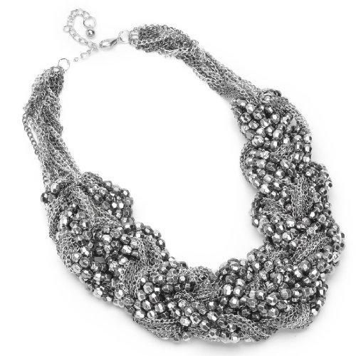 Moderner-Schmuck-damen-Halskette-silbergraue-geflochtete-Kette-Beads-und-Perle-statement