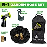 Garden Hose, 50 Ft, Heavy Duty Expanding Water Coil Best Flexible Expandable Retractable Collapsible Shrinking Hoses Strongest Lightweight Solid Brass Fittings. For Grass Dock Warehouse Gardner Plants