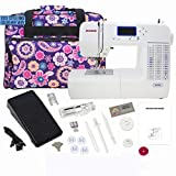 Janome 8050 Computerized Sewing Machine with Machine Tote (Color: white, blue)