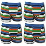 4er Kids Jungen coole, farbenfrohe Boxershorts im Streifendesign