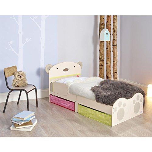 SnuggleTime Bear Hug Toddler Bed avec stockage Underbed + matelas mousse