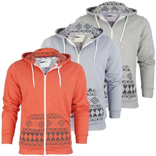 Mens D-Code 'Bob' Aztec Hoodie/ Hooded Sweater Jumper [Small]