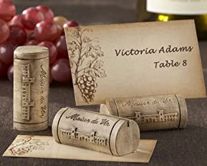 """""""Maison du Vin"""" Wine Cork Place Card/Photo Holder with Grape-Themed Place Cards (Set of 4) - Baby Shower Gifts & Wedding Favors"""
