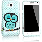 tinxi� Silikon Schutzh�lle f�r Huawei Ascend G600 G615 H�lle Tasche R�ckschale Case Cover mit Eule Owl Muster in Hellgr�n