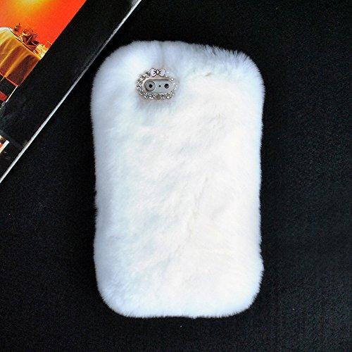 Ic Iclover Bling Diamond Luxury 3D Rabbit Fur Fluffy Case Cover For Apple Iphone 6 (White)