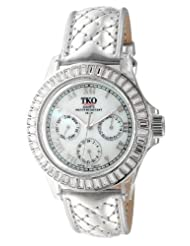TKO ORLOGI Womens TK518 CS Capri Swarovski Crystal Accented Metallic Plastic Case Quilted Silver Genuine Leather Strap Watch