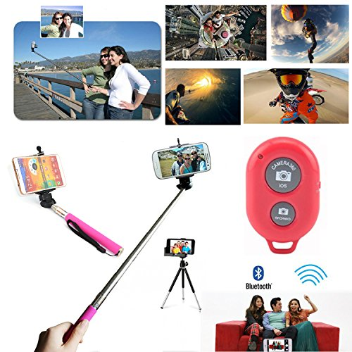 Apexel Extendable Self Portrait Selfie Handheld Stick Monopod with Adjustable Phone Holder and Bluetooth Remote Wireless Shutter for Smartphone - Red
