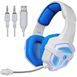 Sades SA921 Gaming Headset 3.5mm Jack For PS4 Mac PC IPhone Smart Phone Laptop With Microphone SA806 Whiteblue...