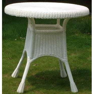 North Cape International 30 inch Round Dining Table Base with Glass Top and Woven Top