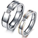 VALYRIAジュエリー ファッション アクセサリー レディース ペアリング, セットカップル指輪, ハート型,ダイヤ,婚約, 結婚, 記念日 誕生日プレゼント,ステンレス, バレンタインデー ,カラー:ゴールド(金);シルバー(銀);[ギフトバッグを提供] - [レディース 14号]