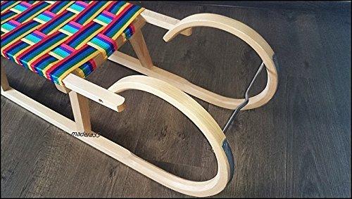 Bb-de-Dreams-MIM-120-cm-avec-cordon-laisse-arc-en-ciel-assise-Luge-Traineau-en-bois-Luge-pour-enfant-NEUF