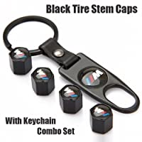 Bmw M Black Tire Stem Valve Caps And Black Keychain Combo Set by LH