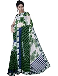 Aadarshini Women's Faux Georgette Saree (110000000347, Off White & Green)