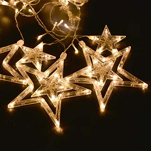 Ledertek 12 Stars Warm White 8 Modes Memory Controller Led Curtain Fairy String Lights Window Curtain Icicle Lighting Five-Pointed Star Styled With Tail Plug And Used For Christmas, Parties, Wedding, Festival Decorations (12 Stars Warm White)