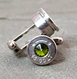 Bullet Cufflinks Colt 45 in Swarovski Olivine Green