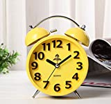 Elecbank Candy Color Large Hourly Number Metallic Lacquer Reto Silent Non Ticking Alarm Clock (Yellow)