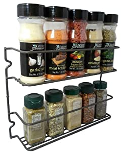 Durable Steel 2 Shelves Wall Mountable Spice Rack Organizer Holder, Stylish Graphite Color by Hopeful Long-Lived