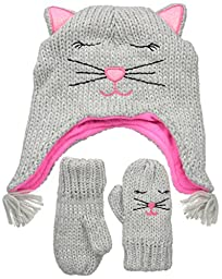 The Children\'s Place Baby Animal Hat Scarf and Mitten Set, Kitty/Heather Grey, Small/12-24 Months