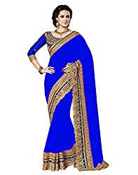 SareeShop Blue Color Chiffon Embroidered Party Wear Saree with Blouse Piece(RoyalBlue_BLUE)