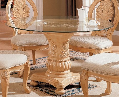 Cheap Pedestal Dining Table with Glass Top Antique White Finish (VF_AZ00-45622×30197)