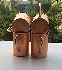 STREET CRAFT Drinkware Accessories Hammered Copper Moscow Mule Mug 16 Oz Brown Set of 4
