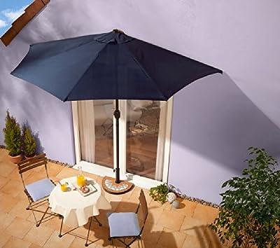 Sonnenschirm blau mit Kurbel - halbrund
